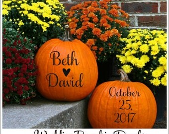 Wedding Pumpkin Decals Set of Two Vinyl Decals for Pumpkins Rustic Country Fall Wedding Decor Personalized Decal Names Date Small Wedding