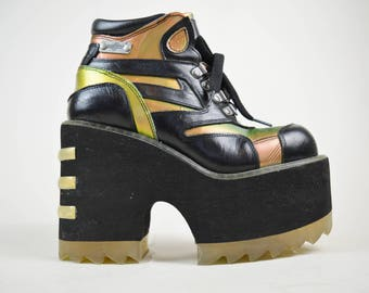 90s Cyber Clubkid Rare Destroy Iridescent Lace Up Platform Wedge Boots UK 4 / US 6.5 / EU 37
