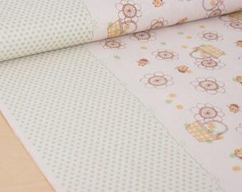 Shinzi Katoh | Japanese fabric - kawaii bees - cotton shirting - green and yellow - 1/2 YD