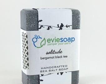 solitude - bergamot black tea - Sea Salt Soap, Cold Process Soap, Handmade Soap, EvieSoap
