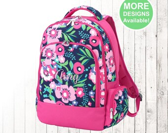 Personalized Flower Backpack, Monogrammed Backpack, Girls Backpack, Kids Backpack, Elementary School Backpack, Garden pattern, flowers
