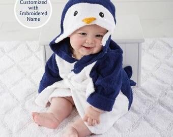 Penguin Hooded Spa Robe, Baby Bath Robe, Terry Cloth Robe, Penguin Hooded Robe, Baby shower gift, Baby christmas gift, Baby Aspen Robe