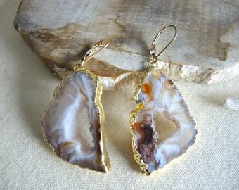 Agate Earrings, Agate Slice Geode Earrings, Agate Druzy Earrings, Triangle Agate Geode Earrings, Jewelry Gifts For Her, Gold Earrings