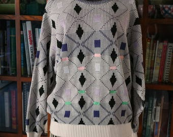 Oversized Ribbed Vintage Sweater / Cotton Acrylic / Made in Italy / Fiji Brand / 1980s Ivory Black Pink Green Diamond Argyle Coogi Inspired