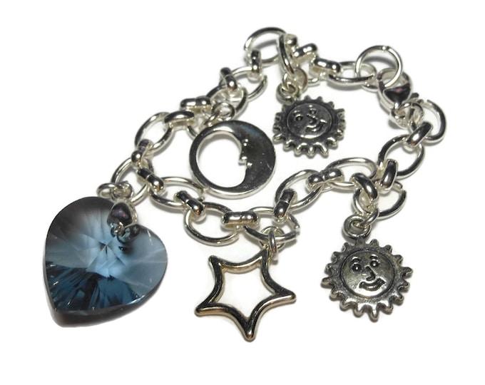 Celestial charm bracelet, denim blue Swarovski crystal heart focal sun moon stars charms silver plated rolo chain romantic wedding something