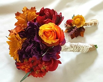 FALL Silk Wedding Bouquet Red,Gold, Purple Weding Bouquet Fall Burlap Handle,  Country, Rustic, Boutonniere Included
