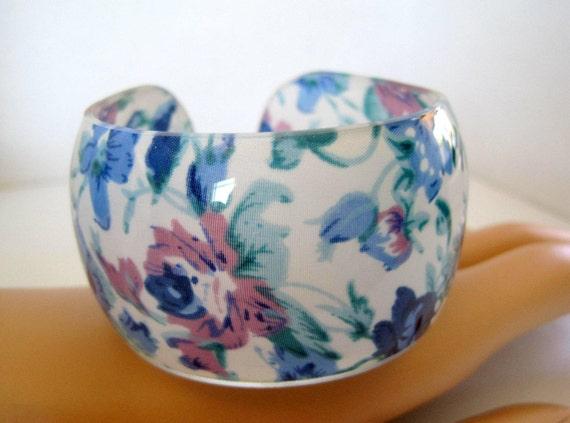 Blue Floral Bangle - Wide Plastic Cuff Bracelet - Lovely Flowered Bracelet