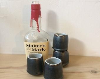 Shot Glass - Drinking Vessel - Ceramic Shot Glass - Stoneware Whiskey Cup - Pewter Sake Cup - Stoneware Cup - Sake Cup