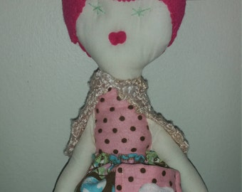 Tooth Fairy Rag Doll OOAK Handmade 18 inches tall Protect the Animals print skirt