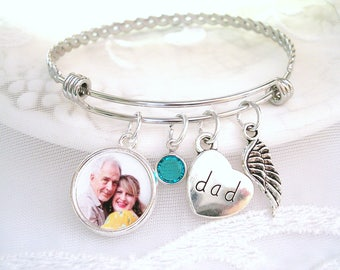 Dad Memory Charm Bracelet Grandma Memory Photo Charm Son Memory Picture Charm Bracelet Grandpa Sympathy Gift Mother Remembrance Jewelry