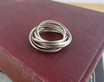 Sterling Rolling Russian Wedding Band,  8 Rolling Bands, Sterling 925 Silver, Approx Size 7 1/2