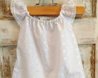 Flower Girl Dress White Eyelet Lace Size 2 Ellie Ann and Lucy