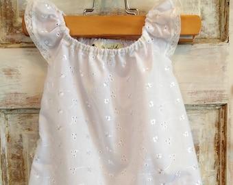 White Eyelet Flower Girl Dress | White Eyelet Dress | Capped Sleeve Dress | Birthday Dress | White Boho Baby Dress | Ellie Ann and Lucy