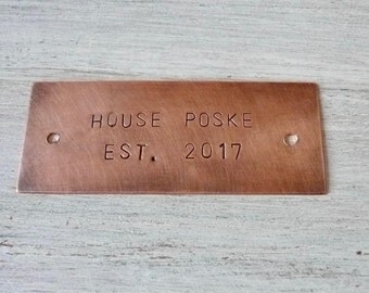 Personalized Copper Plaque 8 x 3.5 cm, Hand Stamped Plate with Holes, Custom Plaque, Memorial Keepsake, 3mm Arial Font, 2 - 3 lines of text