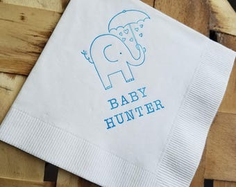 Baby Elephant with Umbrella and Baby Shower White Cocktail Napkins with Baby Name Baby Girl or Baby Boy in Bright blue ink- Set of 50