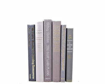 Gray Books, Slate Grey Decorative Books, Wedding Table Settings, Old Book Collection, Antique Book Set, Book Decor Home Office Decor