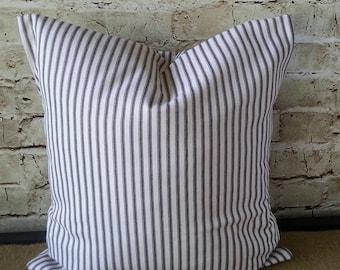 Ticking Stripe Pillow - Ticking Pillow - Ticking Pillow Cover - Black Stripe Pillow -  Black Stripe Pillow Cover - Stripe Pillow Cover