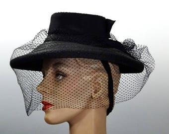 Black Straw Tilt Hat Fascinator, Matching Veil and Bun Strap, 1940's War Era Women's Vintage Accessories