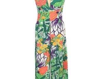 vintage 1970's floral palazzo jumpsuit / 70's jumpsuit / halter jumpsuit / wide leg / bold print / women's vintage jumpsuit / size small