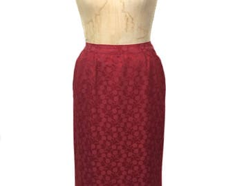 vintage 1960's cherry print skirt / red / pencil skirt / 60's skirt / novelty print skirt / women's vintage skirt / tag size 12