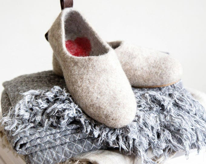 Featured listing image: Felted Warmest Love Clogs -Felt organic merino wool neutral beige grey-felted slippers-handmade slippers valentines day gift-womens slippers