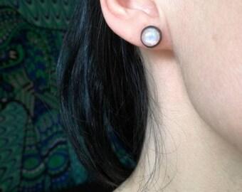 Rainbow Moonstone Stud Earrings, Sterling silver 925, Silver earrings, Moonstone Post Earrings, Silver Stud Earrings, Tiny Earrings SALE