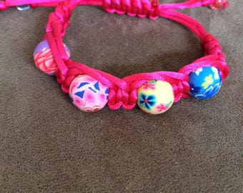Deep Pink Beaded Macrame Bracelet
