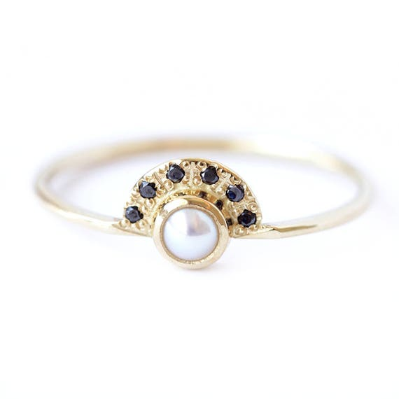 unconventional wedding rings pearl engagement ring with black diamonds alternative 8156