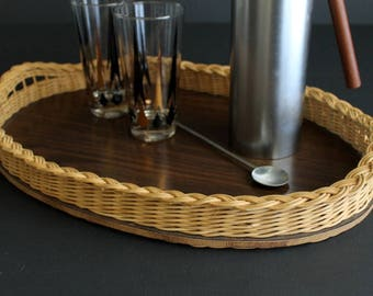 Vintage Woven Wicker and Pressed Wood Serving Tray Hand Made