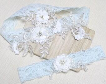 Lace blue garter set, satin garter set, wedding garter set, bridal garter set, blue lace garter, blossom  garter set
