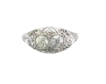 White Gold Diamond Filigree Ring, Filigree Ring, Diamond Ring, Antique Diamond Ring, European Cut Diamond, Antique Filigree Ring, Filigree
