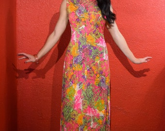 1960s 70s Psychedelic Print Maxi Dress