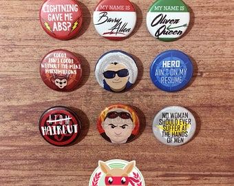 DC TV inspired buttons - pinback or magnets ||| The Flash Arrow Legends of Tomorrow Captain Cold Heat Wave White Canary Atom television