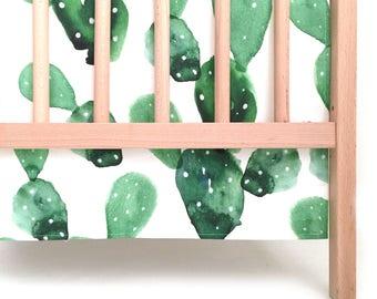 Crib Skirt Watercolor Cactus. Baby Bedding. Crib Bedding. Crib Skirt Boy. Baby Boy Nursery. Cactus Crib Skirt.