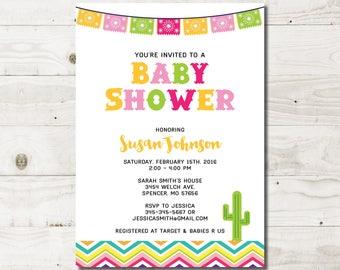 Mexican Baby Shower Invitation Fiesta Baby Shower Fiesta invitation Mexican Fiesta Mexican Invitation Mexican Party cactus baby shower