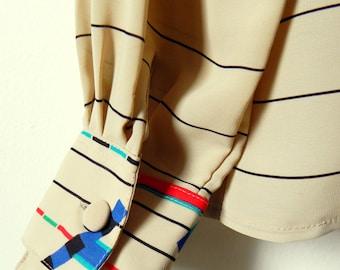 Striped Vintage Drapey Blouse with Geometric Cuff Detail / 70s Secretary Blouse / Horizontal Stripe Semi Sheer Blouse in Latte