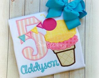 Ice Cream Birthday Shirt- Girl Ice Cream Shirt- Summer Applique Shirt- Ice Cream cone shirt- Monogram- Custom- Girl Birthday Shirt- Birthday