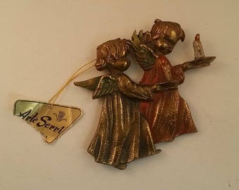 Vintage Brass Angel Plaque -- Angels with Candles, Child's Bedroom, Nursery Decor or Baby Shower Gift, 5 by 5 Inches -- Arte Servi