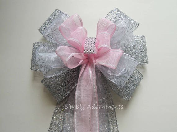 Silver Pink First Birthday Party Decor Wedding Pew Bows Pink Silver Snowflakes Bridal Shower Party decor Pink Silver Baby Shower Party Decor