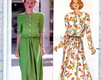 Misses / Petites Top & Flared Skirt Pattern Butterick 4679 Vintage 90s size 8 10 12 Bust 31 32 34, Uncut Womens Sewing Pattern