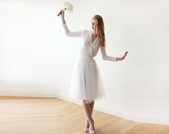 Ivory midi length tulle dress with long sleeves , Reception ivory tulle midi dress 1068