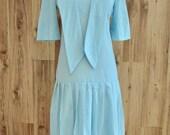 1960s Mod Drop Waist Dotted Swiss Dress, Sixites Light Blue Dress w/ Pleated Skirt, Semi Sheer 20s Look Daytime Dress, Back Button Shift
