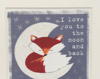 I Love You To The Moon And Back - Fox Print - Fox Art - Fox Painting - Fox Gift