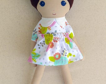 Fabric Doll Rag Doll Brown Haired Girl in Pink and Coral Floral Dress with Pink Maryjanes