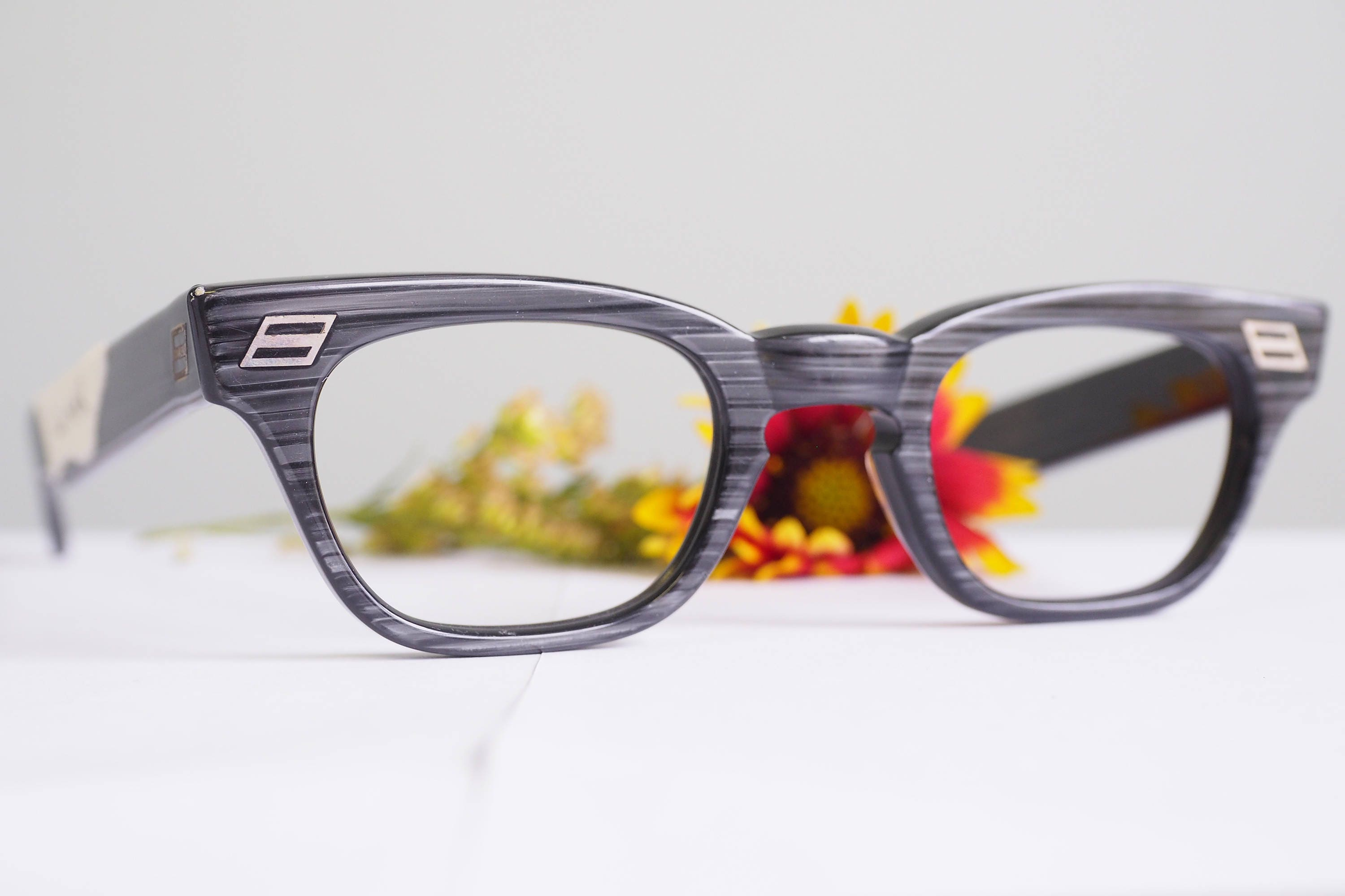 fdb5cce5d51 Vintage Eyeglass 1950 s By Lumar Greywood New Old Stock Beautiful Condition  G-Men Thick Arnel