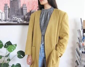 80s long coat - oversized jacket - vintage 80s shoulder pad blazer jacket - mustard yellow coat - minimalist jacket - Large