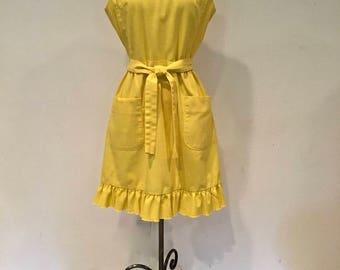 Cute Sunshine Yellow 1960's Wrap Sundress with Ruffle