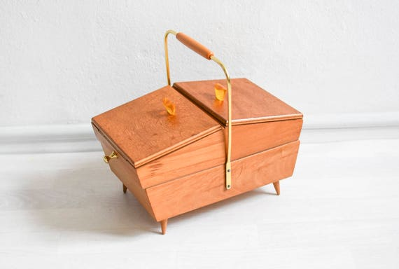 60s Sewing basket MidCentury knitting box sewing box knitting