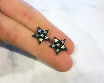 Space jewelry Galaxy earrings black stars earring studs for sensitive ears Holo pink Geek earrings hypoallergenic gift for girlfriend