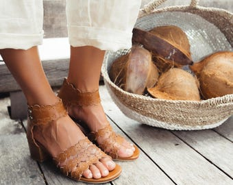 SEASIDE. Leather sandals / women shoes / block heel sandals / boho shoes / brown sandals / boho. Sizes 35-43. Available in different colors